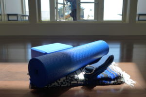 Royal blue Yoga mat, block, belt and blanket