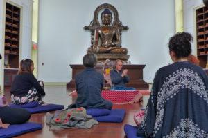 Man teaches a group with a Buddha statue behind him