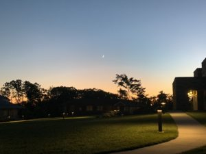The Dharmakaya Center campus at twilight