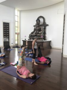 Amba Winkler helps yoginis with yoga nidra